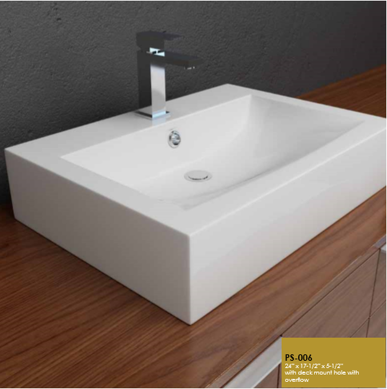 Buy Cantrio Koncepts PS-006 Rectangular Above counter Ceramic with W/ Overflow - Zen Tap Sinks