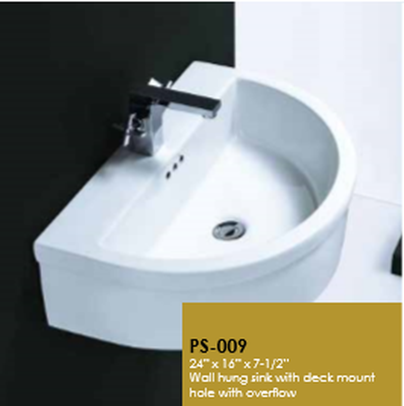 Buy Online Cantrio Koncepts PS-009 Vitreous China Wall Mounted Semi Recessed Sink - Zen Tap Sinks