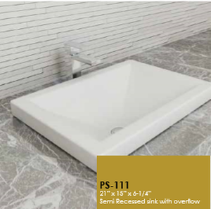 Buy Cantrio Koncepts PS-111 Ceramic Series Vitreous China Self-Rimming Sink - Zen Tap Sinks