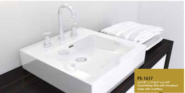 Buy Online Cantrio Koncepts PS-1617 Vitreous China Countertop Sink With Overflow - Zen Tap Sinks