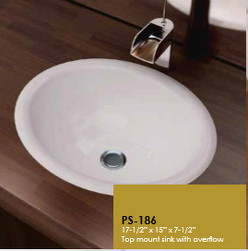 Buy Cantrio Koncepts PS-186 Ceramic Series Vitreous China Self-Rimming Basin - Zen Tap Sinks