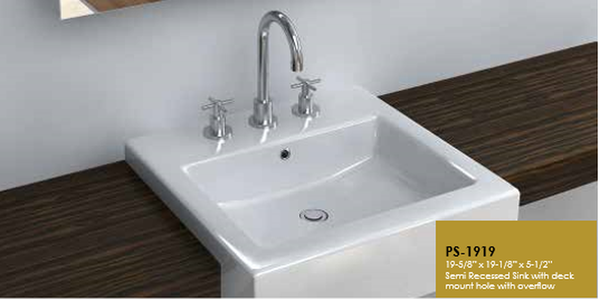 Buy Cantrio Koncepts PS-1919 Porcelain Semi Recessed Sink with Overflow - Zen Tap Sinks