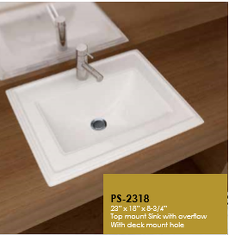 Buy Cantrio Koncepts PS-2318 Vitreous China Top Mount Sink with Overflow - Zen Tap Sinks