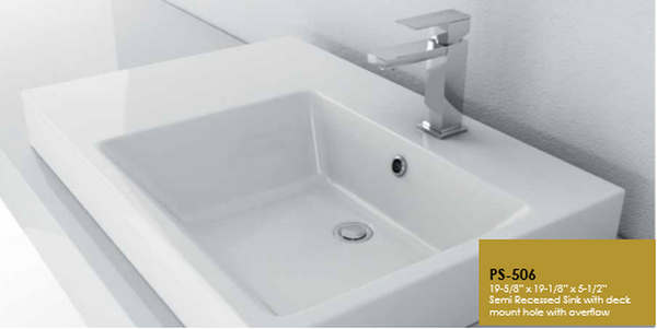 Buy Cantrio Koncepts PS-506 Rectangular Vitreous China Topmount Bathroom Sink - Zen Tap Sinks