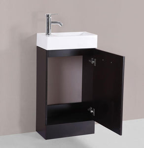 "19"" Barbara Espresso Single Modern Bathroom Vanity with Integrated Sink"