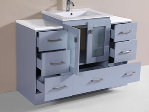 "48"" Hermosa Espresso Single Modern Bathroom Vanity with 2 Side Cabinets and Integrated Sink"