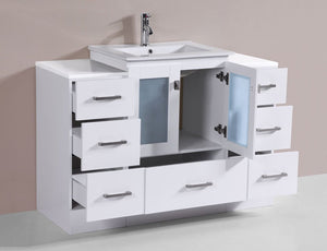 "48"" Hermosa Espresso Single Modern Bathroom Vanity with 2 Side Cabinets and Integrated Sink and Mirror"