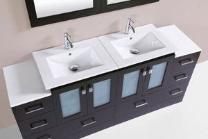 "72"" Hermosa Espresso Double Modern Bathroom Vanity with 2 Side Cabinets and Integrated Sinks"