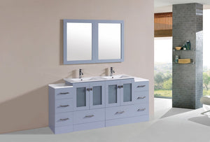 "72"" Hermosa Espresso Double Modern Bathroom Vanity with 2 Side Cabinets and Integrated Sinks and Mirrors"