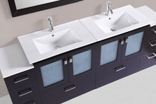 "84"" Hermosa Espresso Double Modern Bathroom Vanity with 2 Side Cabinets and Integrated Sinks"