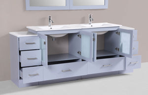 "84"" Hermosa Espresso Double Modern Bathroom Vanity with 2 Side Cabinets and Integrated Sinks and Mirrors"