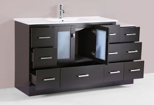 "120"" Hermosa Espresso Double Modern Bathroom Vanity with 2 Side Cabinets and Integrated Sinks"