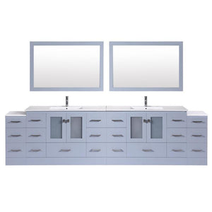 "120"" Hermosa Espresso Double Modern Bathroom Vanity with 2 Side Cabinets and Integrated Sinks and Mirrors"