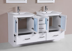 "60"" Hermosa Espresso Double Modern Bathroom Vanity with Side Cabinet and Integrated Sinks and Mirrors"