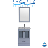"24"" Hermosa Espresso Single Modern Bathroom Vanity with Integrated Sink and Mirror"