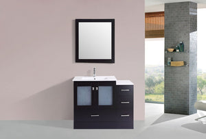 "36"" Hermosa Espresso Single Modern Bathroom Vanity with Side Cabinet and Integrated Sink"