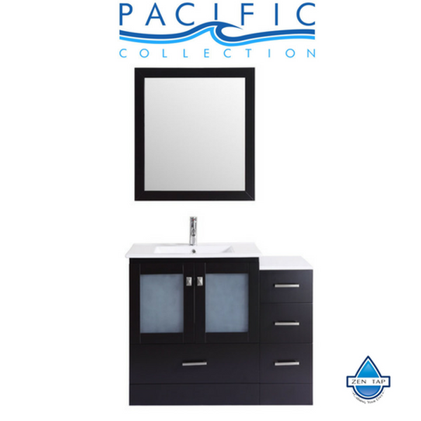 "42"" Hermosa Espresso Single Modern Bathroom Vanity with Side Cabinet and Integrated Sink and Mirror"
