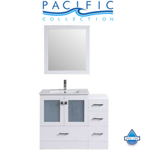 "42"" Hermosa Espresso Single Modern Bathroom Vanity with Side Cabinet and Integrated Sink"