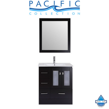 "30"" Hermosa Espresso Single Modern Bathroom Vanity with Integrated Sink and Mirror - Left"