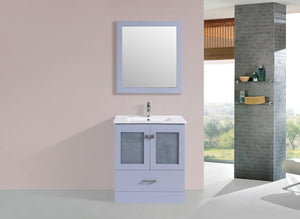 "30"" Hermosa Espresso Single Modern Bathroom Vanity with Integrated Sink and Mirror"