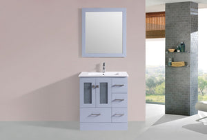 "30"" Hermosa Espresso Single Modern Bathroom Vanity with Integrated Sink - Right"
