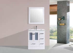 "30"" Hermosa Espresso Single Modern Bathroom Vanity with Integrated Sink and Mirror - Right"