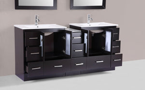 "72"" Hermosa Espresso Double Modern Bathroom Vanity with Side Cabinet and Integrated Sinks - Plus"
