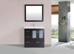 "36"" Hermosa Espresso Single Modern Bathroom Vanity with Integrated Sink and Mirror - Left"