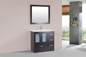 "36"" Hermosa Espresso Single Modern Bathroom Vanity with Integrated Sink - Right"