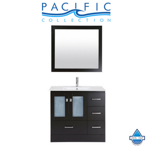 "36"" Hermosa Espresso Single Modern Bathroom Vanity with Integrated Sink and Mirror - Right"