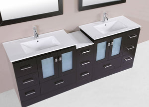 "84"" Hermosa Espresso Double Modern Bathroom Vanity with Side Cabinet and Integrated Sinks - Plus"