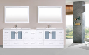 "108"" Hermosa Espresso Double Modern Bathroom Vanity with Side Cabinet and Integrated Sinks"