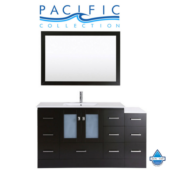 "60"" Hermosa Espresso Single Modern Bathroom Vanity with Side Cabinet and Integrated Sink and Mirror"