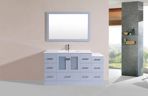 "60"" Hermosa Espresso Single Modern Bathroom Vanity with Side Cabinet and Integrated Sink"