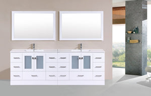 "96"" Hermosa Espresso Double Modern Bathroom Vanity with Integrated Sinks and Mirrors"