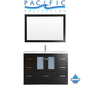 "48"" Hermosa Espresso Single Modern Bathroom Vanity with Integrated Sink and Mirror"