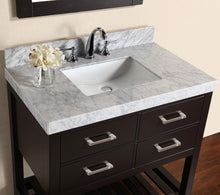 "40"" Laguna White Single Modern Bathroom Vanity with White Marble Top and Undermount Sink"