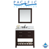 "40"" Laguna White Single Modern Bathroom Vanity with White Marble Top, Undermount Sink and Mirror"