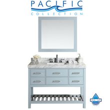 "48"" Laguna White Single Modern Bathroom Vanity with White Marble Top, Undermount Sink and Mirror"