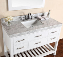 "48"" Laguna White Single Modern Bathroom Vanity with White Marble Top and Undermount Sink"