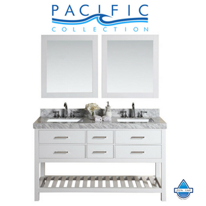 "60"" Laguna White Double Modern Bathroom Vanity with White Marble Top, Undermount Sinks and Mirrors"