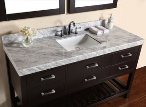 "60"" Laguna White Single Modern Bathroom Vanity with White Marble Top, Undermount Sink and Mirror"