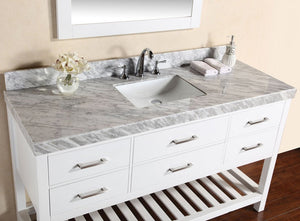 "60"" Laguna White Single Modern Bathroom Vanity with White Marble Top and Undermount Sink"