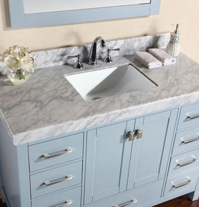 "72"" Malibu Single Modern Bathroom Vanity with White Marble Top and Undermount Sink With Mirror"