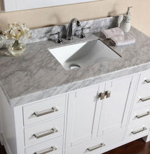 "72"" Malibu Single Modern Bathroom Vanity with White Marble Top and Undermount Sink"