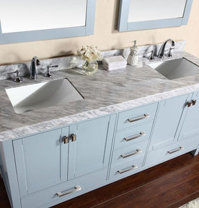 "84"" Malibu White Double Modern Bathroom Vanity with 2 Side Cabinets, White Marble Top with Undermount Sinks and Mirrors"