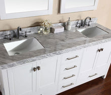 "84"" Malibu White Double Modern Bathroom Vanity with 2 Side Cabinets and White Marble Top with Undermount Sinks"