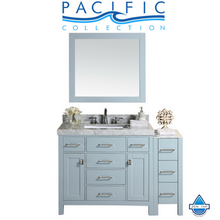 "52"" Malibu Single Modern Bathroom Vanity with Side Cabinet, White Marble Top with Undermount Sink and Mirror"