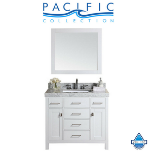 "40"" Malibu Single Modern Bathroom Vanity with White Marble Top and Undermount Sink"