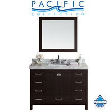 "48"" Malibu Espresso Single Modern Bathroom Vanity with White Marble Top and Undermount Sink W/ Mirror Option"